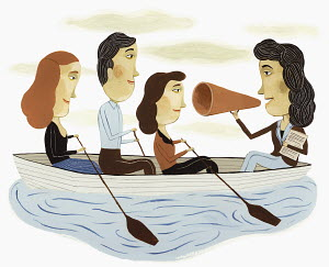 Businesswoman with bullhorn leading co-workers in boat