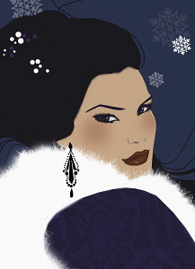 Glamorous woman with fur boa