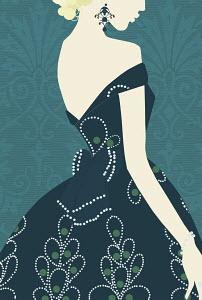 Glamorous woman in elegant dress