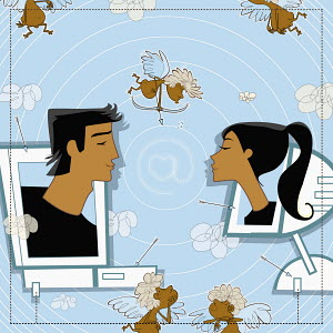Man and woman on computer monitors kissing
