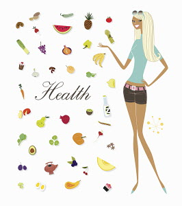 Woman standing with foods and the word 'health'