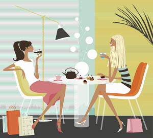 Women having coffee in stylish cafe