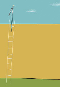 Businessman at top of ladder above wall