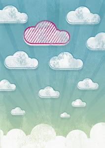 Unique striped cloud in sky