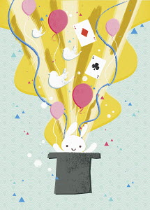 Rabbit, balloons and cards coming from top hat