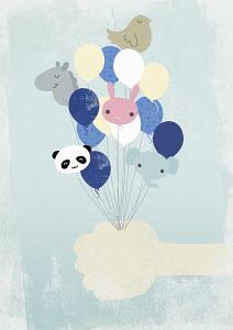 Hand holding animal-shaped helium balloons
