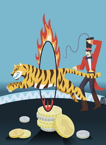 Man guiding tiger through flaming hoop above coins