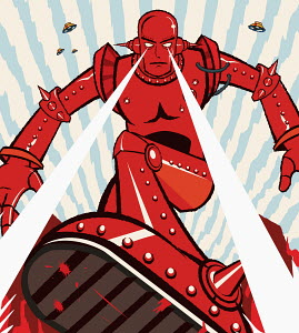 Red robot attacking with beams from eyes