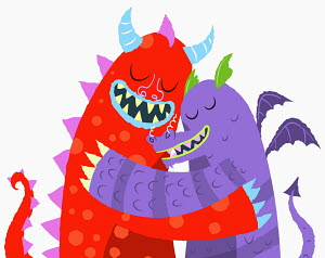 Monsters hugging