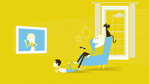 Man watching television with son and cat