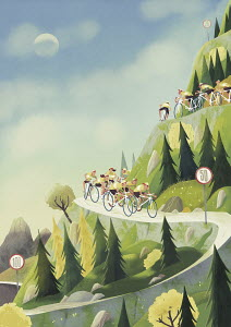 Cyclists descending winding mountain road with hairpin bends