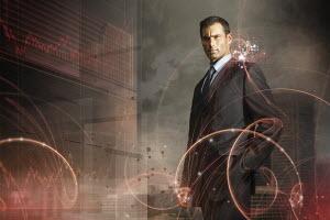 Red data graphics surrounding businessman