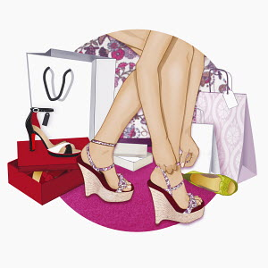 Female shopper trying on shoes