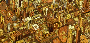Aerial view of city rooftops