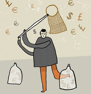 Man catching currency symbols with net