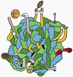 Men tangled in sports equipment