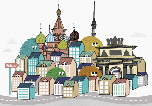Creatures peering over Moscow rooftops