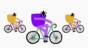 Creatures riding on bicycles