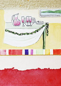 Wine and dishes on table with garland
