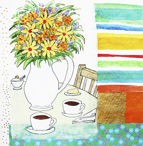 Flowers and coffee cups on table