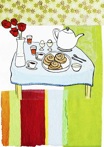 Breakfast on table with flowers