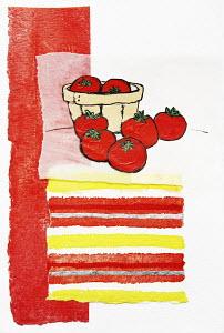 Tomatoes in and around bushel