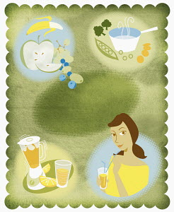 Montage of woman and healthy food and drink