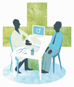 Doctor and male patient meeting in doctor�s office