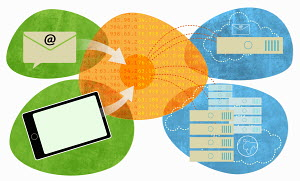 Email, digital tablet, and files connected by network server and cloud computing