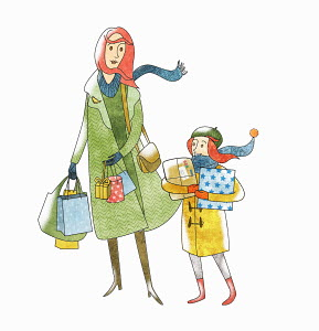 Mother and daughter with Christmas present shopping