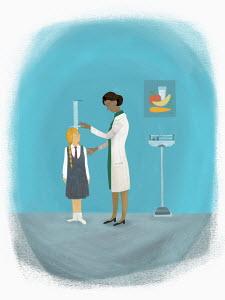Schoolgirl having development check up by nurse
