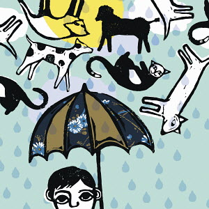 Cats and dogs raining above man with umbrella