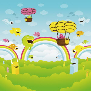 Cute monsters flying among rainbows and in hot air balloons