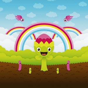 Anthropomorphic flower and worms in dirt below rainbows