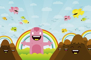 Cute creatures among anthropomorphic mountains and rainbows