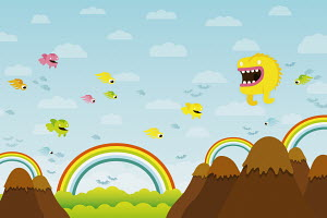 Cute creatures flying above mountains and rainbows