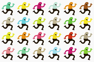Colorful characters running in rows