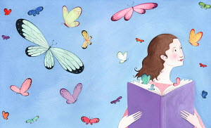 Butterflies flying around girl reading book