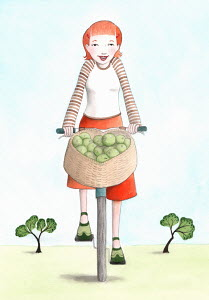 Woman riding bicycle with basket full of apples