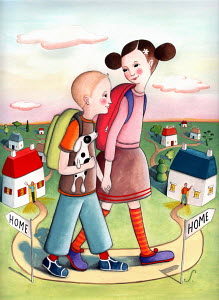 Boy and girl holding hands and walking home