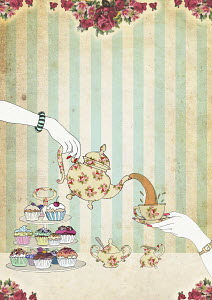 Woman pouring tea above cupcakes