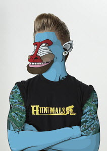 Man with tattoos and baboon face