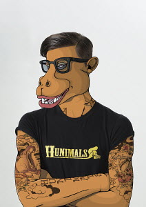 Man with tattoos and hippopotamus face