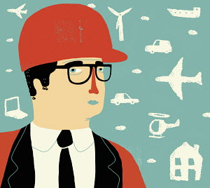 Businessman in hard hat with transport, energy and technology clouds