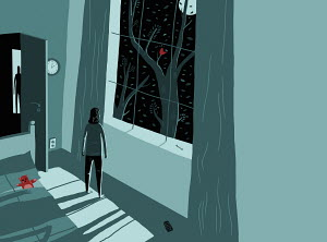 Scared woman looking out of window in the middle of the night