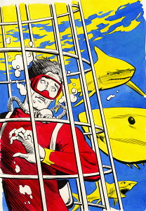Scuba diver in cage surrounded by sharks