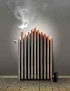 Overheating radiator with steam in shape of dollar sign