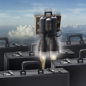 Briefcase with rocket attached