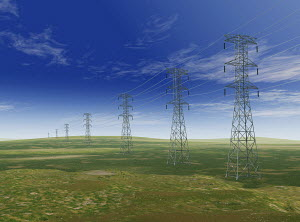 Electricity pylons in remote field