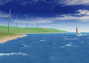 Sailboat in ocean, wind turbines turning on shore
